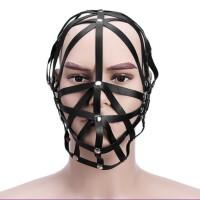 交叉条皮头套束缚半包头面具 蒙头束缚情趣玩具 性用品 黑色