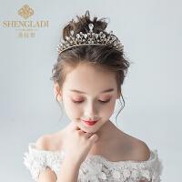 儿童皇冠头饰公主水晶发箍金色女孩生日演出发饰