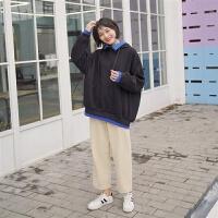 卫衣女加绒加厚韩版潮小高领连帽长袖ins学生拼接假两件冬装 黑色 【加厚加厚】