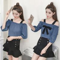 【新品特惠】小个子穿搭150气质裙子套装女夏装2019年流行夏天学生韩版两件套 蓝色+黑裙