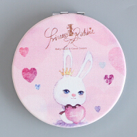 时尚皮面镜韩国创意女士随身化妆镜学生迷你便携折叠小镜子双面镜1 银色 爱心兔