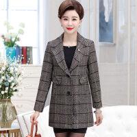 秋冬装妈妈装毛呢外套中老年女装中年女装格子上衣中长款外套 XL 建议90-105斤