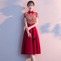 新娘敬酒服旗袍2018新款夏季中式复古立领红色中长款结婚晚礼服女