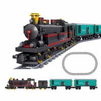 儿童玩具火车轨道电动电子积木拼装男孩兼容城市列车