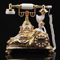 欧式田园创意复古电话机 老式仿实木古董座机 家用办公仿古电话