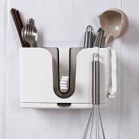 家用快子架子 创意筷子筒架收纳盒刀叉家用厨房兜北欧个性壁挂式勺子筷笼快子搂 简约白