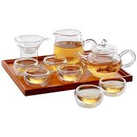 哲生活 耐热高温套装玻璃茶壶整套泡茶壶过滤红茶具普洱茶杯 升级壶+6双层杯+公道杯+茶隔