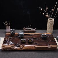 整块黑檀木茶盘家用排水茶托台实木功夫茶具茶海荷塘月色