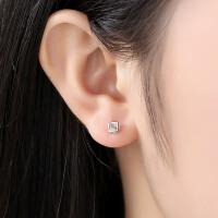 时尚百搭配饰气质耳环S925银耳钉女士爱情魔方方形耳饰