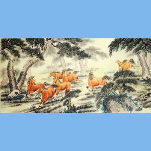 中国教育电视台水墨丹青书画院会员,中南海国礼中心国礼艺术家韩梅(八骏图)10