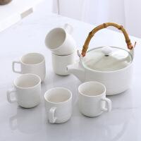 陶瓷花茶具水杯套装创意冷水壶杯具凉水壶日式茶具带竹盘