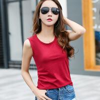 女士纯色棉吊带背心韩版夏装新款圆领无袖打底衫外穿内搭t恤上衣