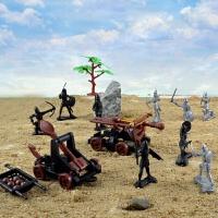 战士玩具古代军事战争儿童玩具兵人骑兵骑士中世纪模型塑料士兵战斗对战 人马套装