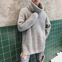 冬季个性高领毛衣男士韩版潮流学生加厚针织衫宽松百搭毛衫线衣男