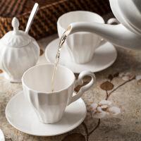 陶瓷咖啡杯套装英式复古骨瓷茶具咖啡壶具下午茶红茶杯具 白色套装组合 11件