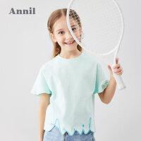 【199元3件】安奈儿童装女童T恤2020夏季新款下摆ANNIL镂空绣花短袖