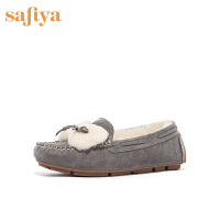 【券后价:279元】SAFIYA单鞋2020冬季专柜同款简约低跟绒里豆豆鞋女SF04111049