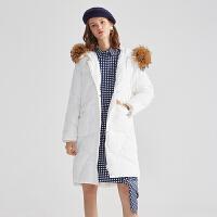 伊芙丽新款大貉子毛领纯色中长款羽绒服女宽松加厚外套118A188822
