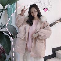 加厚工装外套女2019中长款冬季新款韩版bf宽松大毛领棉衣学生