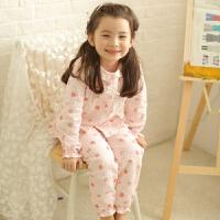 日系棉双层纱布儿童睡衣女童长袖春夏季女孩薄款家居服套装 粉红色 粉色大草莓 100cm