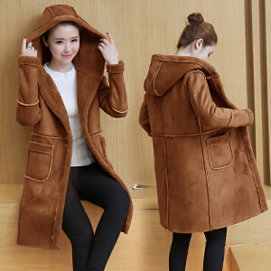 2018冬季新款韩版冬季宽松显瘦仿绒羊羔毛外套女中长款加绒加厚