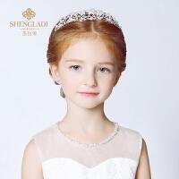 儿童皇冠发饰女童头饰公主皇冠发箍珍珠儿童头箍演出发饰花童头饰