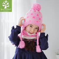 新款儿童帽子冬天男孩女孩加绒保暖套头帽帽子围脖两件套