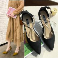 百搭仙女风新款女鞋韩版时尚珍珠绒面凉鞋细跟单鞋浅口尖头高跟鞋女
