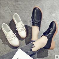 百搭潮款新款韩版英伦学院风女鞋小白鞋女流苏粗跟小皮鞋女单鞋