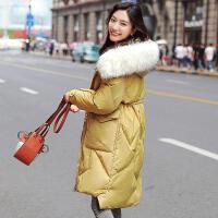 羽绒服女中长款白鸭绒2019韩版时尚毛领外套冬