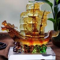 一帆风顺帆船摆件 琉璃龙舟摆件一帆风顺帆船龙船摆设办公室客厅装饰商务生日礼品