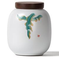 汝窑陶瓷茶叶罐大小号 实木罐盖家用日式密封罐储物罐茶罐