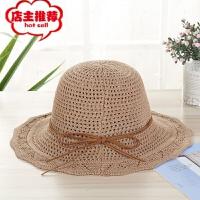 厂家直销韩版春季草帽细绳蝴蝶结帽户外遮阳帽子批发时尚女帽