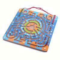木制磁性迷宫益智玩具木质环形运笔迷宫智力玩具 亲子玩具双磁棒