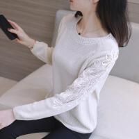 蕾丝镂空打底衫毛衣女2019秋冬季圆领宽松套头长袖大码针织衫