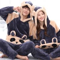 情侣睡衣女冬天珊瑚绒毛绒加厚加绒男青年个性熊猫动物卡通套装萌 女M 高150-160 重80-100斤