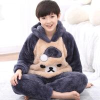 儿童珊瑚绒睡衣秋冬季厚款法兰绒男宝宝家居服动物睡衣套装
