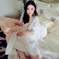 内衣睡衣套装真丝睡袍女睡裙长款性感吊带裙睡衣长袖两件套家居服丝绸浴袍春秋