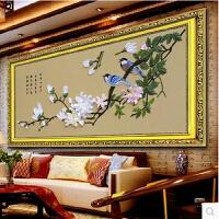 丝带绣客厅挂画大幅 新款春韵鸟语花香客厅大幅3D印花立体非十字钻石秀 春韵