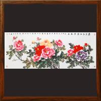 万紫千红富贵长春国画客厅1.8米牡丹图风水挂画 新中式装饰画 中国水墨花鸟壁画730