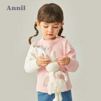 【2件3折价:72.6】专柜同款安奈儿童装女童毛衣加厚冬新款针织衫儿童保暖上衣洋气宝宝棉线衫