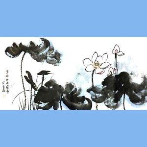 中国现代著名的画家,泼墨画家,书法家张大千(荷花)
