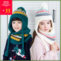 新款儿童冬天帽子围脖两件套宝宝保暖男孩女孩帽子套装