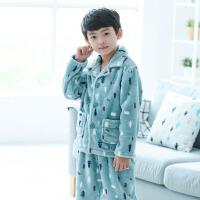 男童珊瑚绒睡衣秋冬季厚款套装冬款男孩法兰绒儿童家居服中大童