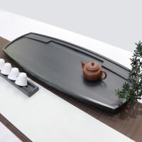 复古风乌金石茶盘家用手工雕刻干泡台简约创意茶台天然石头茶盘客厅现代茶海茶托茶艺茶道茶托盘
