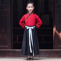 儿童汉服中国风男童女古装套装书童服装表演服国学服复古演出服冬