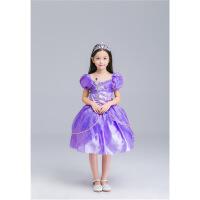 新款动漫公主裙冰雪奇缘长短袖卡通人物服装COS儿童女款角色扮演