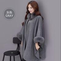 冬装韩版中长款毛呢子大衣仿真狐狸毛领气质斗篷披肩外套女