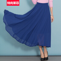 特尚莱菲 夏季新款半身裙长裙大摆雪纺半裙子 BHF8823