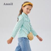 【活动价:109.5】安奈儿童装女童衬衣长袖2020春季新款女孩学生甜美纯棉翻领上衣潮